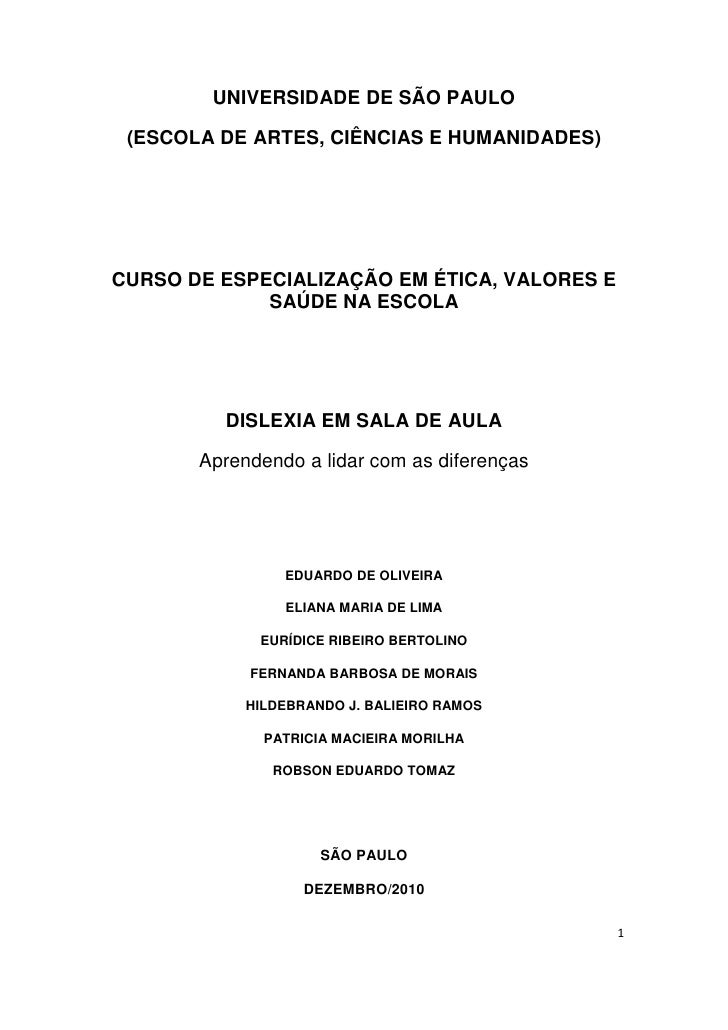UNIVERSIDADE DE SÃO PAULO (ESCOLA DE ARTES, CIÊNCIAS E HUMANIDADES)CURSO DE ESPECIALIZAÇÃO EM ÉTICA, VALORES E            ...