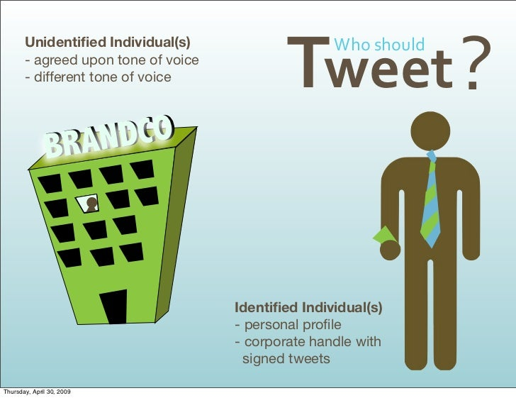 Tweet ? Whoshould        Unidentified Individual(s)        - agreed upon tone of voice        - different tone of voice   ...