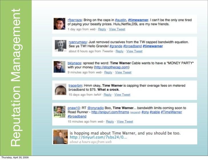 Reputation Management     Thursday, April 30, 2009