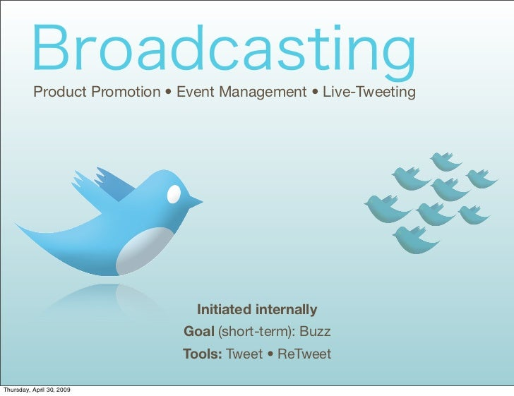 Product Promotion • Event Management • Live-Tweeting                                     Initiated internally             ...