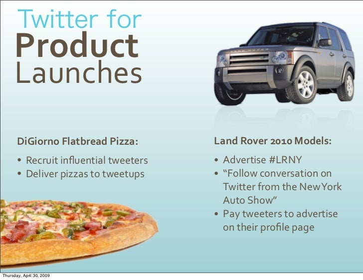 Product       Launches                                        LandRover2010Models:        DiGiornoFlatbreadPizza:   ...