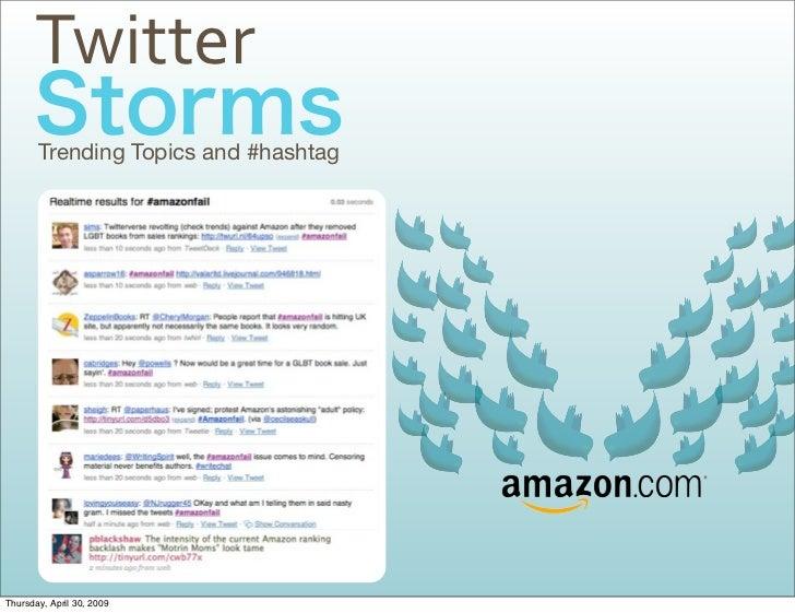 Twitter        Trending Topics and #hashtag     Thursday, April 30, 2009