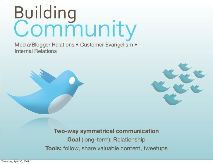 Building            Media/Blogger Relations • Customer Evangelism •            Internal Relations                         ...