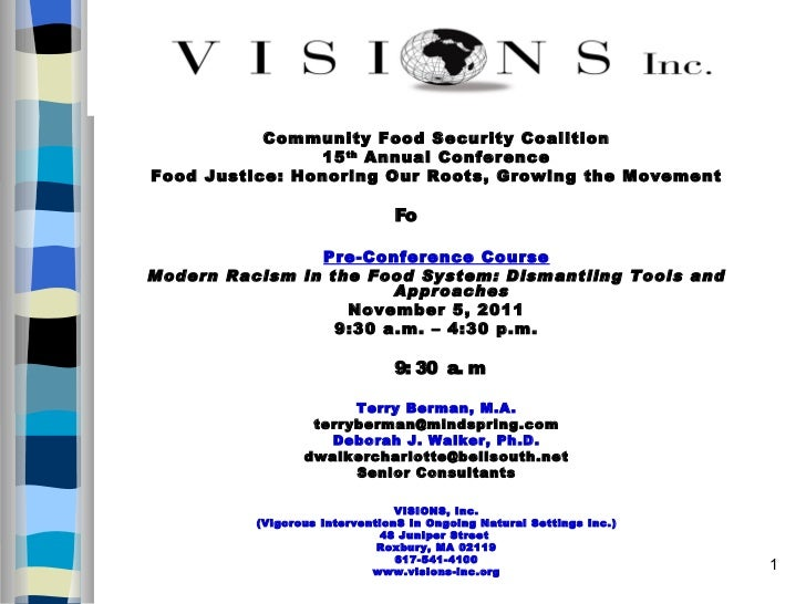 <ul><li>Community Food Security Coalition </li></ul><ul><li>15 th  Annual Conference </li></ul><ul><li>Food Justice: Honor...