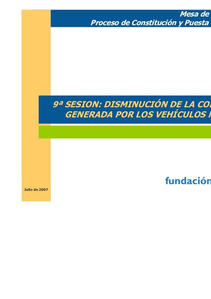 Mesa de Movilidad.                       Proceso de Constitución y Puesta en Marcha                9ª SESION: DISMINUCIÓN ...