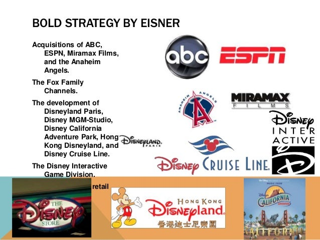 strategic options for walt disney Walt disney has been into the industry for a long time during which it has got established as destination of choice when people want a break from their day-to- day routine however, the strategy has to be complemented with changes taking place in the industry walt disney has to pursue offensive strategic options to.