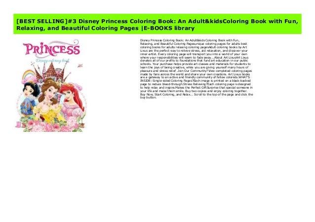 BEST SELLING]#3 Disney Princess Coloring Book: An Adult&kids Colorin…