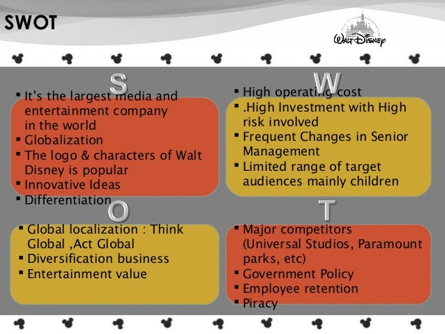 disney movie industry swot analysis Walt disney: swot, pestel and porter analysis 5 substitutes 6 suppliers 6 competitors 6 swot analysis 7 strengths 7 weaknesses 8 analysis of the oil industry.