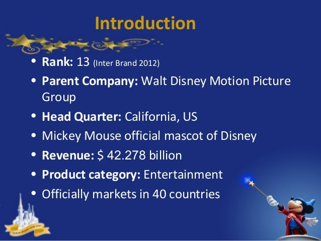 walt disney introduction The walt disney company: its diversification strategy in 2012 introduction the walt disney co is basically an enigma where the company has shown the most minimal of signs where it has shown any signs of slowing down.
