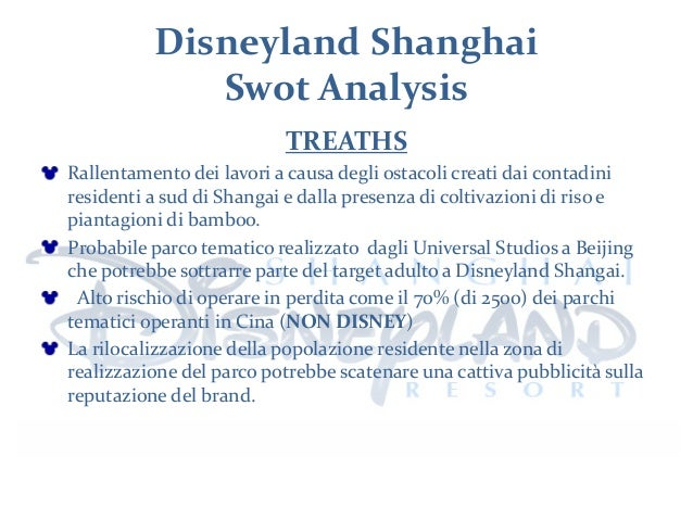 disneyland swot Disney sca, the company that manages disneyland paris the research  question is  table 2 swot analysis of disneyland paris.