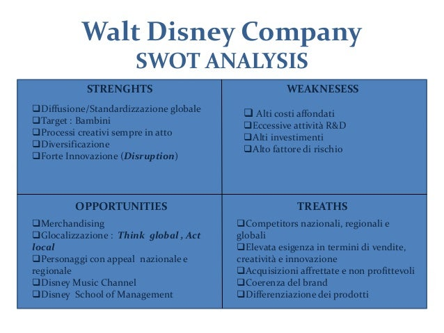 swot walt disney A bunch of people checked out my article on swot analysis and asked me for  more examples of this powerful strategic planning tool.
