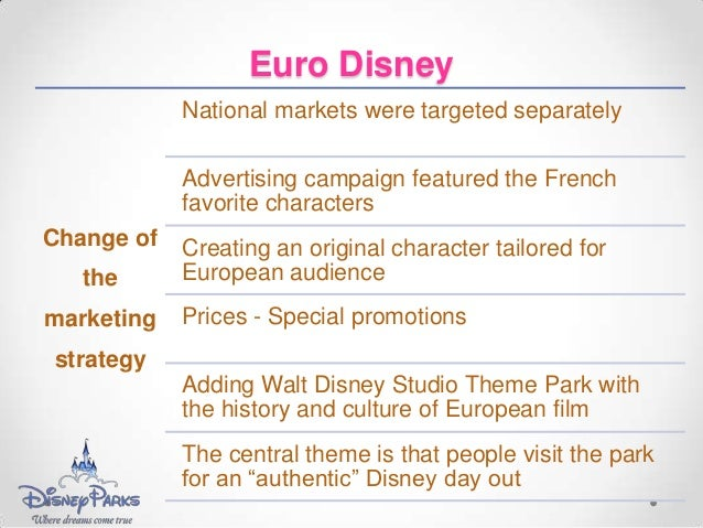 euro disney case study recommendations The walt disney co theme parks historically have thrived on the basis of a formula stressing excellent customer service and a magnificent physical environment the.