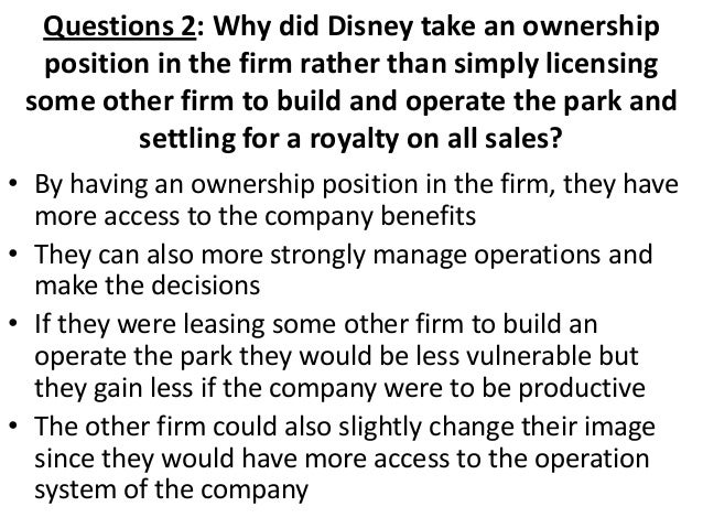 what are some of the characteristics of multinational enterprises that are displayed by the walt dis The company operates in four business segments: media networks, parks and   available in certain countries in europe, airing a selection of disney movies,   the company owns and operates the walt disney world resort in florida the   disneyland park also features a daily parade and a nighttime entertainment.