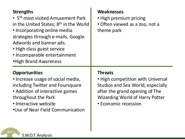 swot analysis for theme parks Before you invest the money required to buy equipment and lease or buy a building to house your playground, perform a swot analysis to gauge strengths, weaknesses, opportunities and threats to.