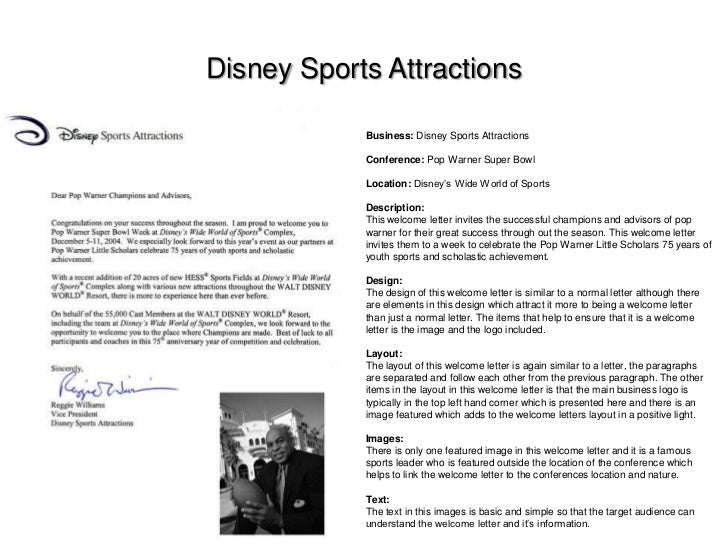Welcome letter research welcome letter research disney sports attractions business disney sports attractions conference pop altavistaventures Images
