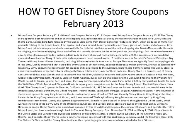 image relating to Disney Store Coupons Printable known as Disney Retail outlet Coupon codes February 2013 - Printable Disney Retail outlet