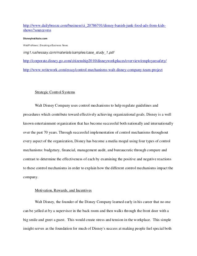 walt disney case term paper