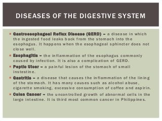 Disorders and diseases of the digestive system