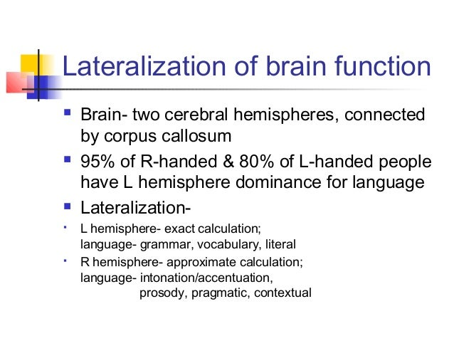 checkpoint cerebral lateralization function The lateralization of brain function is the tendency for some neural functions or cognitive processes to be specialized to one side of the brain or the other.