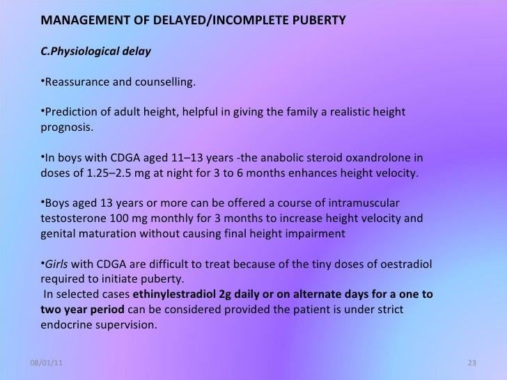 oxandrolone delayed puberty