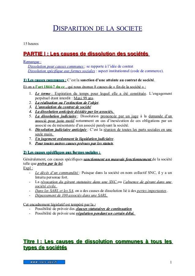DISPARITION DE LA SOCIETE  15 heures  P PAARRTTIIEE I : LLeess ccaauusseess ddee ddiissssoolluuttiioonn ddeess ssoocciiéét...