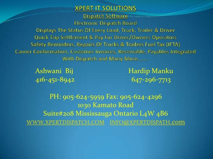 XPERT IT SOLUTIONSDispatch SoftwareElectronic Dispatch BoardDisplays The Status Of Every Load, Truck, Trailer & DriverQuic...
