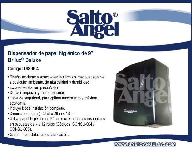 """Dispensador de papel higiénico de 9""""Brilux® DeluxeCódigo: DIS-004•Diseño moderno y atractivo en acrílico ahumado, adaptabl..."""