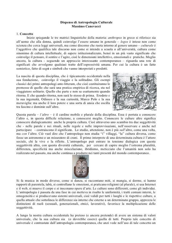 Dispense di Antropologia Culturale                                          Massimo Canevacci  1. Concetto         Inizio ...