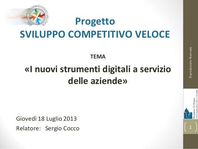 Progetto SVILUPPO COMPETITIVO VELOCE TEMA «I nuovi strumenti digitali a servizio delle aziende» Giovedì 18 Luglio 2013 Rel...