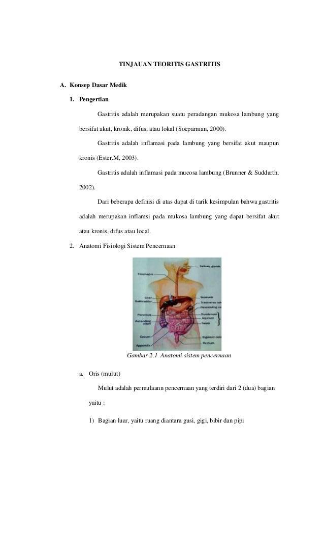 TINJAUAN TEORITIS GASTRITIS A. Konsep Dasar Medik 1. Pengertian Gastritis adalah merupakan suatu peradangan mukosa lambung...