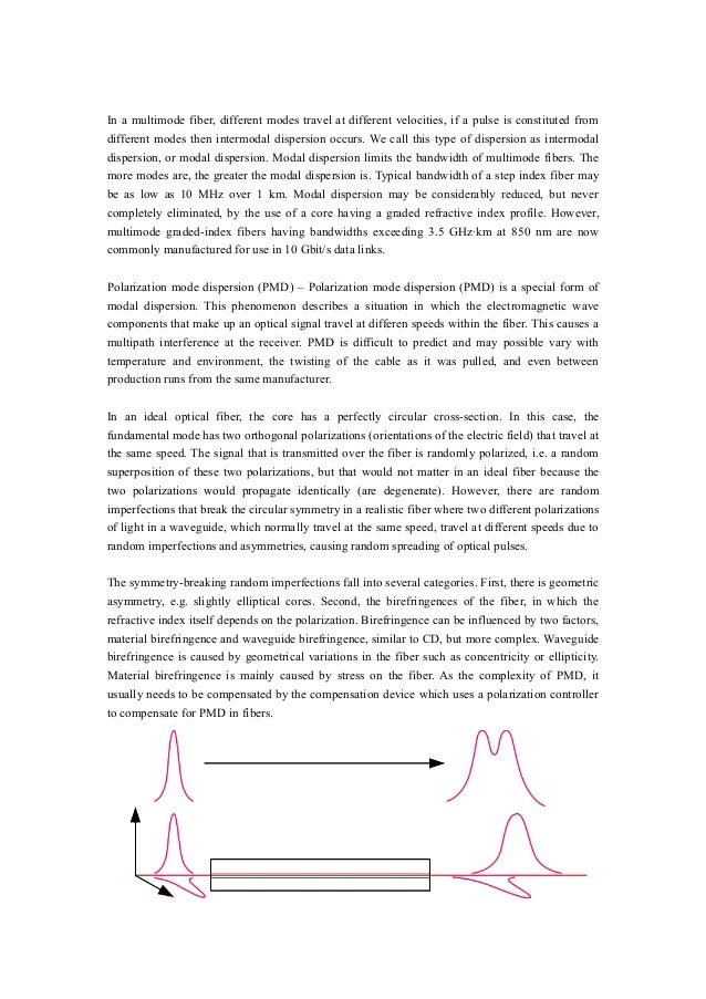 In a multimode fiber, different modes travel at different velocities, if a pulse is constituted from different modes then ...