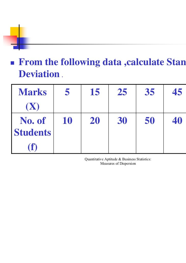 standard deviation and marks Standard deviation is a number used to tell how measurements for a group are spread out from the average , or expected value a low standard deviation means that most of the numbers are very close to the average.