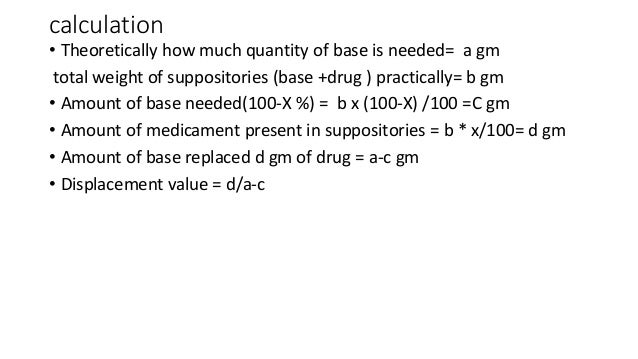 displacement value calculations suppositories pdf