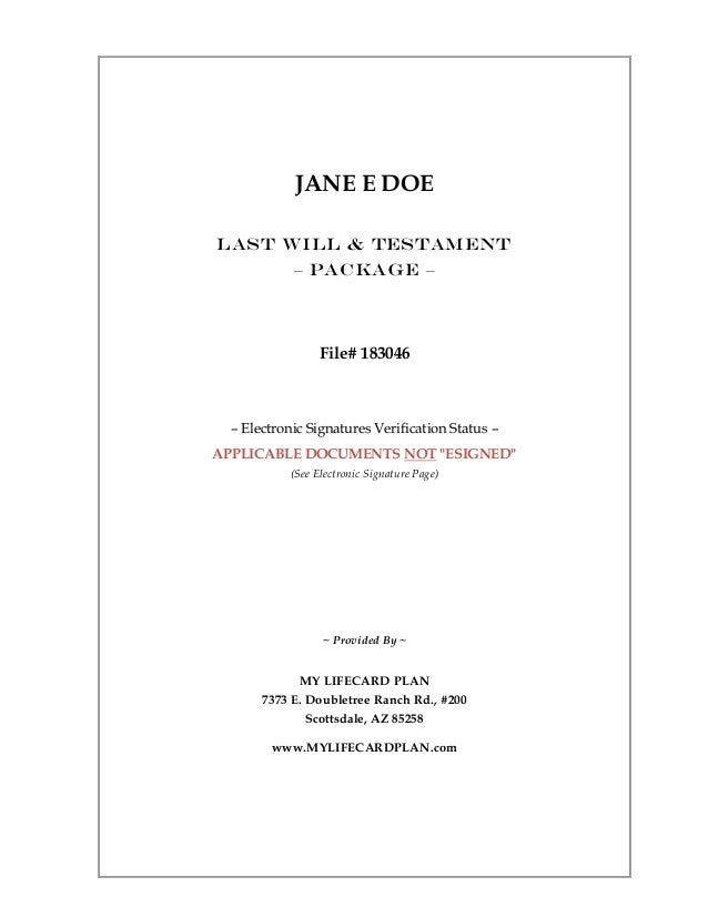 JANE E DOE Last Will & Testament – Package – File# 183046 – Electronic Signatures Verification Status – APPLICABLE DOCUMEN...