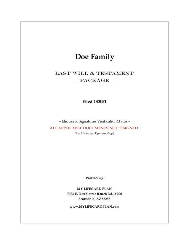 Doe Family Will