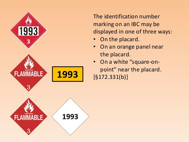 display of markings placards and hazmat labels on ibcs