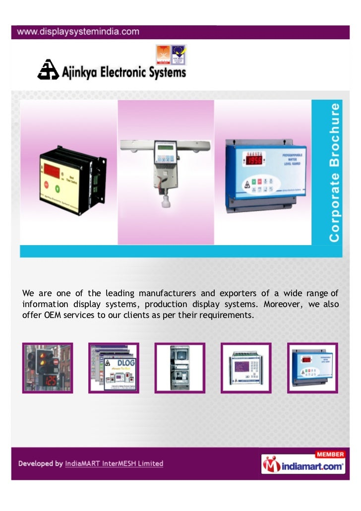 We are one of the leading manufacturers and exporters of a wide range ofinformation display systems, production display sy...