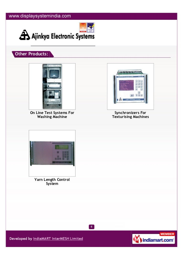 Other Products:      On Line Test Systems For    Synchronizers For          Washing Machine        Texturising Machines   ...