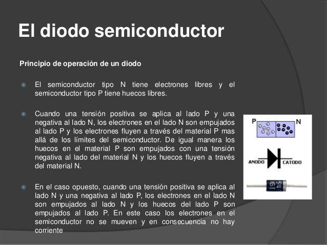 El diodo semiconductor El diodo se puede hacer trabajar de 2 maneras diferentes: Polarización directa  Es cuando la corri...