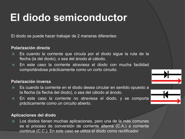 El diodo rectificador Cuando la parte positiva de la tensión alterna (en color rojo) ingresa al puente de diodos, D1 y D2 ...