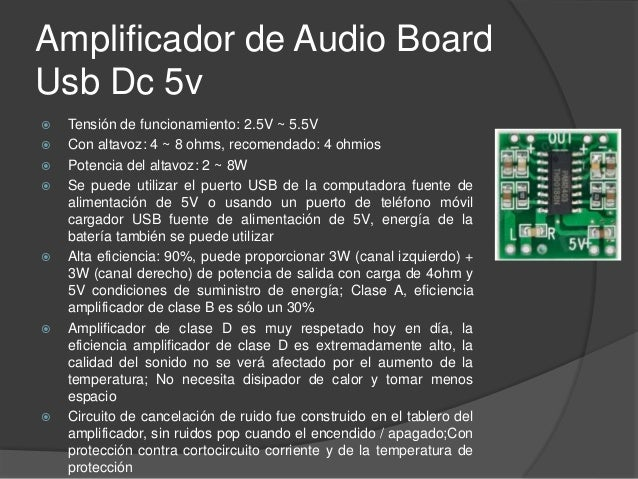 Amplificador de Audio Board Usb Dc 5v Aplicación:  Televisores LCD, monitores, portátiles, altavoces portátiles, reproduc...