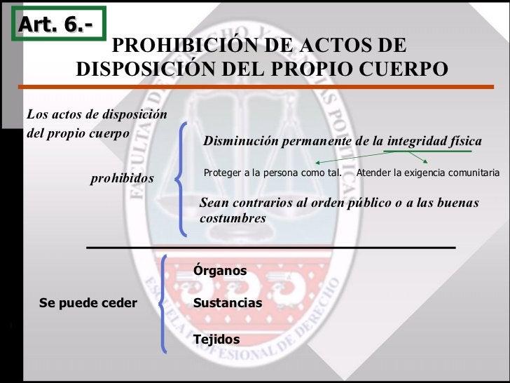 PROHIBICIÓN DE ACTOS DE  DISPOSICIÓN DEL PROPIO CUERPO Art. 6.-  Disminución permanente de la integridad física Sean contr...
