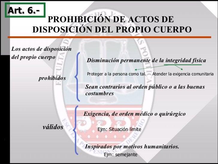 PROHIBICIÓN DE ACTOS DE  DISPOSICIÓN DEL PROPIO CUERPO Art. 6.-  válidos Exigencia, de orden médico o quirúrgico Inspirado...