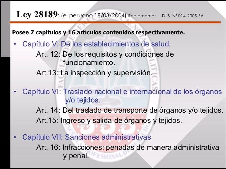 <ul><li>Capítulo V: De los establecimientos de salud. </li></ul><ul><li>Art. 12: De los requisitos y condiciones de    fun...