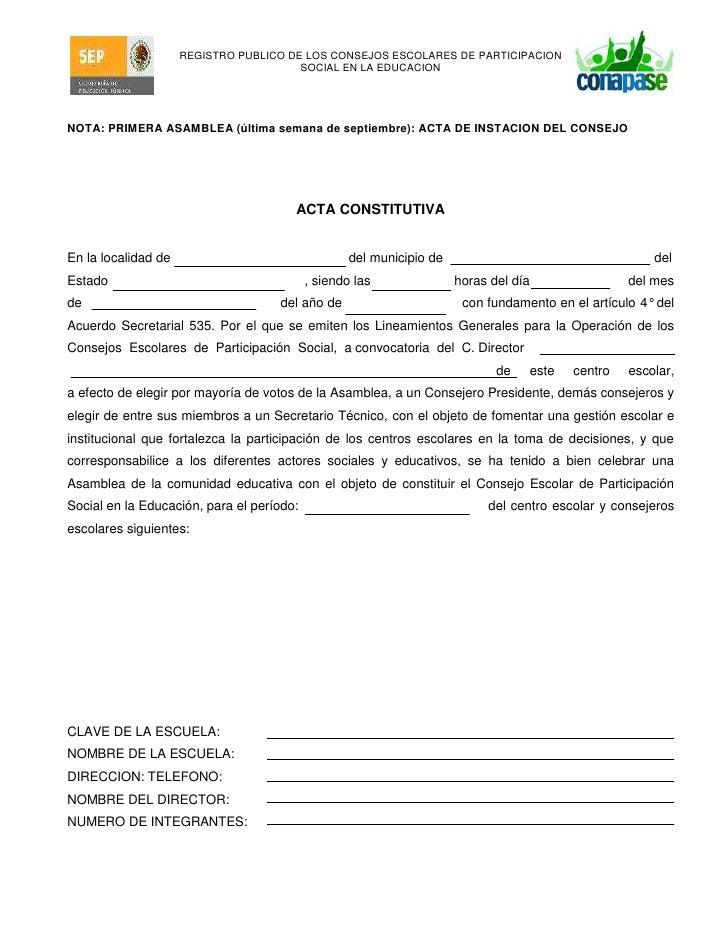NOTA: PRIMERA ASAMBLEA (última semana de septiembre): ACTA DE INSTACION DEL CONSEJO<br />ACTA CONSTITUTIVA<br />En la loca...