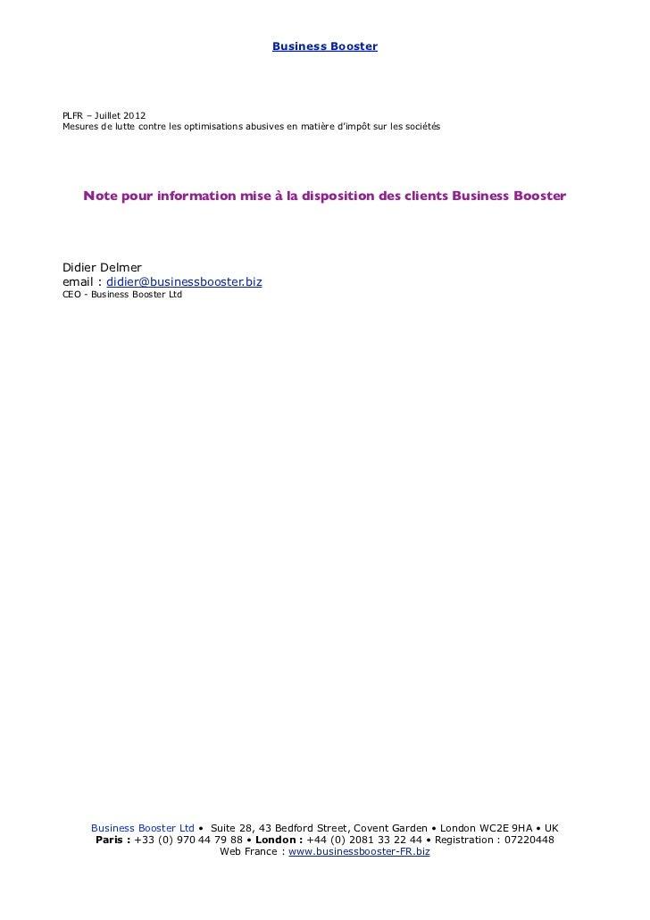 Business BoosterPLFR – Juillet 2012Mesures de lutte contre les optimisations abusives en matière d'impôt sur les sociétés ...