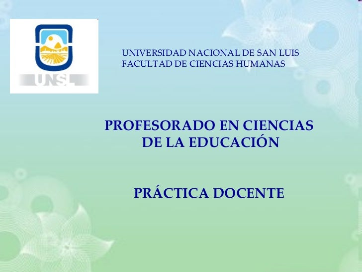 UNIVERSIDAD NACIONAL DE SAN LUIS FACULTAD DE CIENCIAS HUMANAS PROFESORADO EN CIENCIAS DE LA EDUCACIÓN PRÁCTICA DOCENTE