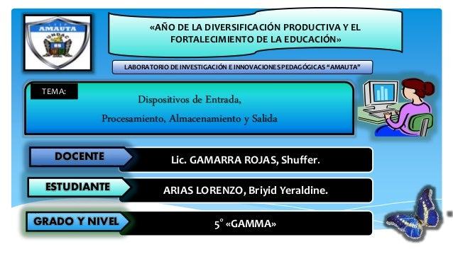 Dispositivos de Entrada, Procesamiento, Almacenamiento y Salida Lic. GAMARRA ROJAS, Shuffer.DOCENTE ARIAS LORENZO, Briyid ...