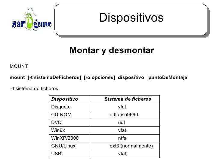 Dispositivos <ul><ul><li>Montar y desmontar </li></ul></ul>MOUNT mount  [-t sistemaDeFicheros]  [-o opciones]  dispositivo...