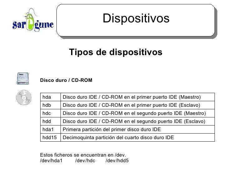Dispositivos <ul><ul><li>Tipos de dispositivos </li></ul></ul><ul><ul><ul><li>Disco duro / CD-ROM </li></ul></ul></ul><ul>...